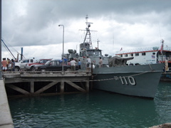 Thai Navy Ship docked at Koh Tao's main pier